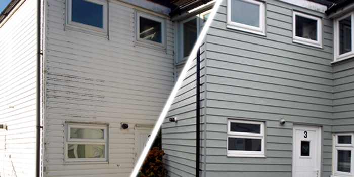 before and after cladding